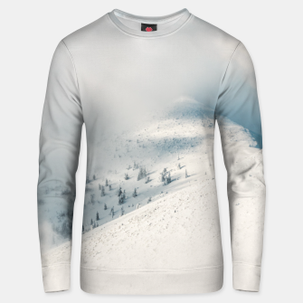 Miniaturka Clouds clearing above spruce forest and snowy mountains Unisex sweater, Live Heroes