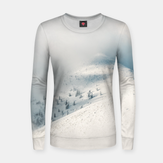 Miniature de image de Clouds clearing above spruce forest and snowy mountains Women sweater, Live Heroes