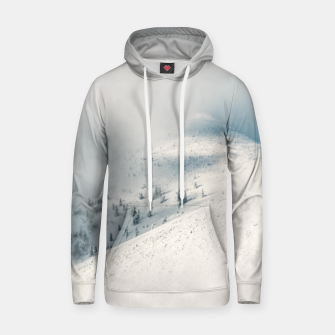 Miniature de image de Clouds clearing above spruce forest and snowy mountains Hoodie, Live Heroes