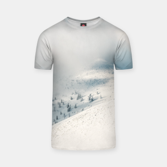 Miniature de image de Clouds clearing above spruce forest and snowy mountains T-shirt, Live Heroes