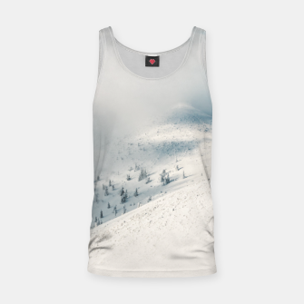Miniature de image de Clouds clearing above spruce forest and snowy mountains Tank Top, Live Heroes