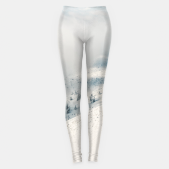 Miniature de image de Clouds clearing above spruce forest and snowy mountains Leggings, Live Heroes