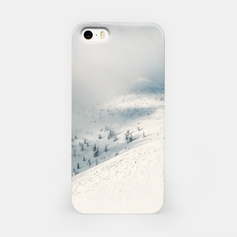 Miniature de image de Clouds clearing above spruce forest and snowy mountains iPhone Case, Live Heroes