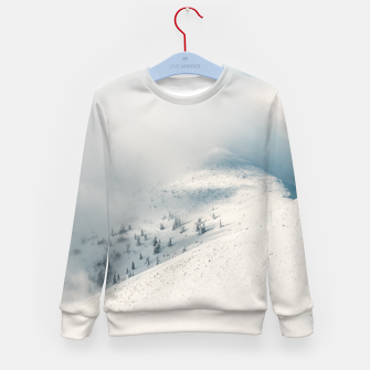 Thumbnail image of Clouds clearing above spruce forest and snowy mountains Kid's sweater, Live Heroes