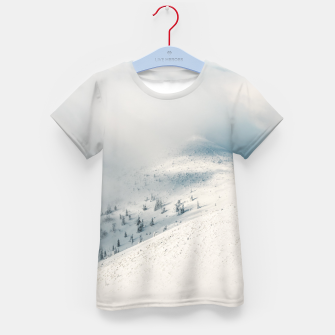 Thumbnail image of Clouds clearing above spruce forest and snowy mountains Kid's t-shirt, Live Heroes