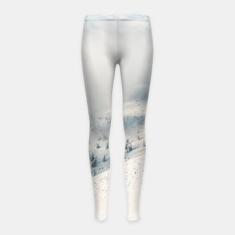 Thumbnail image of Clouds clearing above spruce forest and snowy mountains Girl's leggings, Live Heroes
