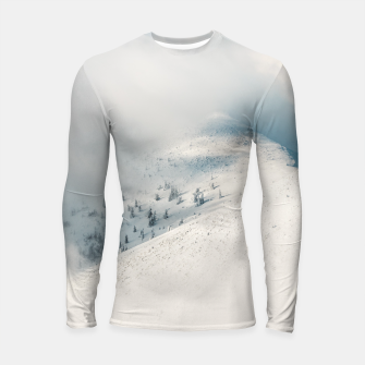 Thumbnail image of Clouds clearing above spruce forest and snowy mountains Longsleeve rashguard , Live Heroes