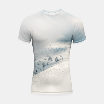 Thumbnail image of Clouds clearing above spruce forest and snowy mountains Shortsleeve rashguard, Live Heroes