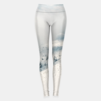 Thumbnail image of Clouds clearing above spruce forest and snowy mountains Leggings, Live Heroes