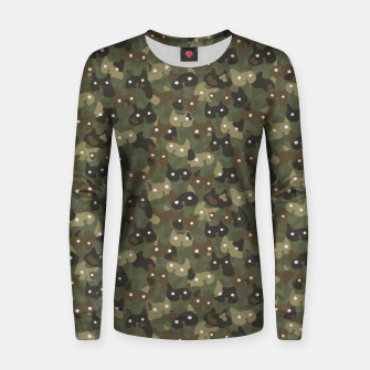 Miniature de image de Ghostly camouflaging cats are watching you in khaki Women sweater, Live Heroes
