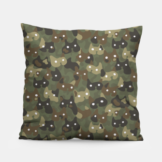 Miniature de image de Ghostly camouflaging cats are watching you in khaki Pillow, Live Heroes