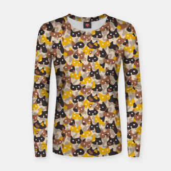 Thumbnail image of Ghostly camouflaging cats are watching you in brown Women sweater, Live Heroes