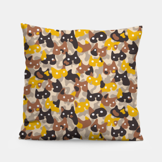 Thumbnail image of Ghostly camouflaging cats are watching you in brown Pillow, Live Heroes
