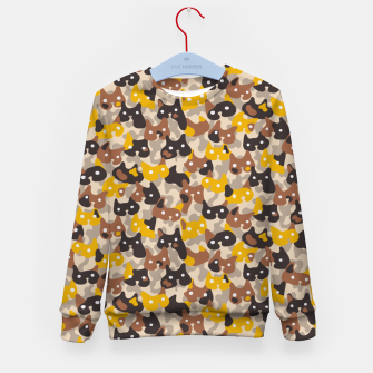 Thumbnail image of Ghostly camouflaging cats are watching you in brown Kid's sweater, Live Heroes