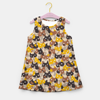 Thumbnail image of Ghostly camouflaging cats are watching you in brown Girl's summer dress, Live Heroes