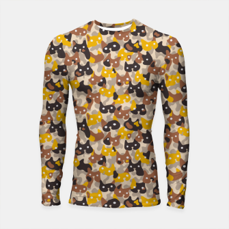 Thumbnail image of Ghostly camouflaging cats are watching you in brown Longsleeve rashguard , Live Heroes