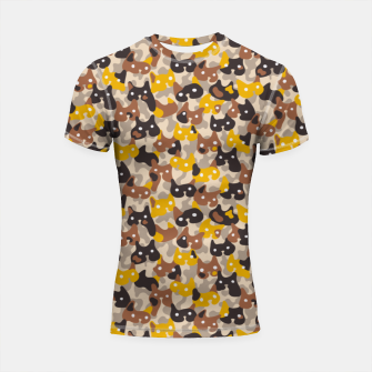 Thumbnail image of Ghostly camouflaging cats are watching you in brown Shortsleeve rashguard, Live Heroes