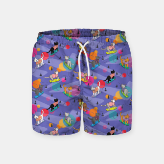 Thumbnail image of Skateboarding cats on the streets of Catsville in violet sun-spots Swim Shorts, Live Heroes