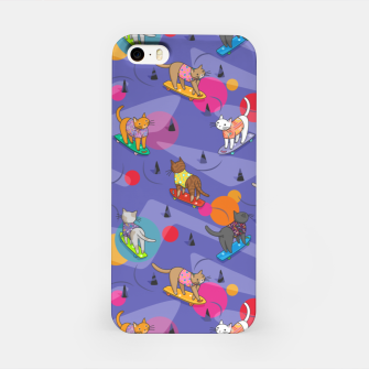 Thumbnail image of Skateboarding cats on the streets of Catsville in violet sun-spots iPhone Case, Live Heroes