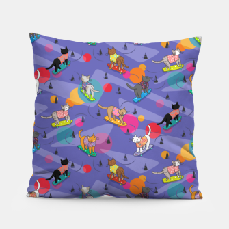 Thumbnail image of Skateboarding cats on the streets of Catsville in violet sun-spots Pillow, Live Heroes