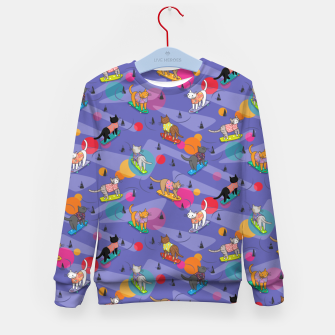 Thumbnail image of Skateboarding cats on the streets of Catsville in violet sun-spots Kid's sweater, Live Heroes