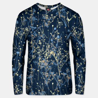 Wildflowers Silhouettes on Dark Blue Floral Pattern Unisex sweater thumbnail image