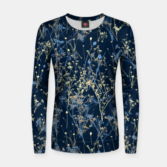Wildflowers Silhouettes on Dark Blue Floral Pattern Women sweater thumbnail image