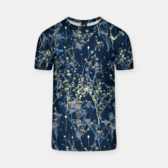 Wildflowers Silhouettes on Dark Blue Floral Pattern T-shirt thumbnail image