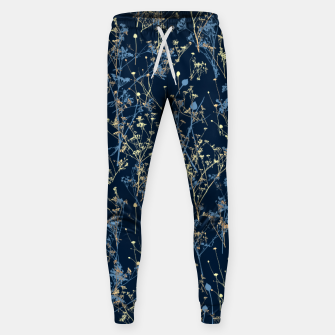 Thumbnail image of Wildflowers Silhouettes on Dark Blue Floral Pattern Sweatpants, Live Heroes