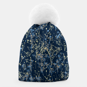Thumbnail image of Wildflowers Silhouettes on Dark Blue Floral Pattern Beanie, Live Heroes