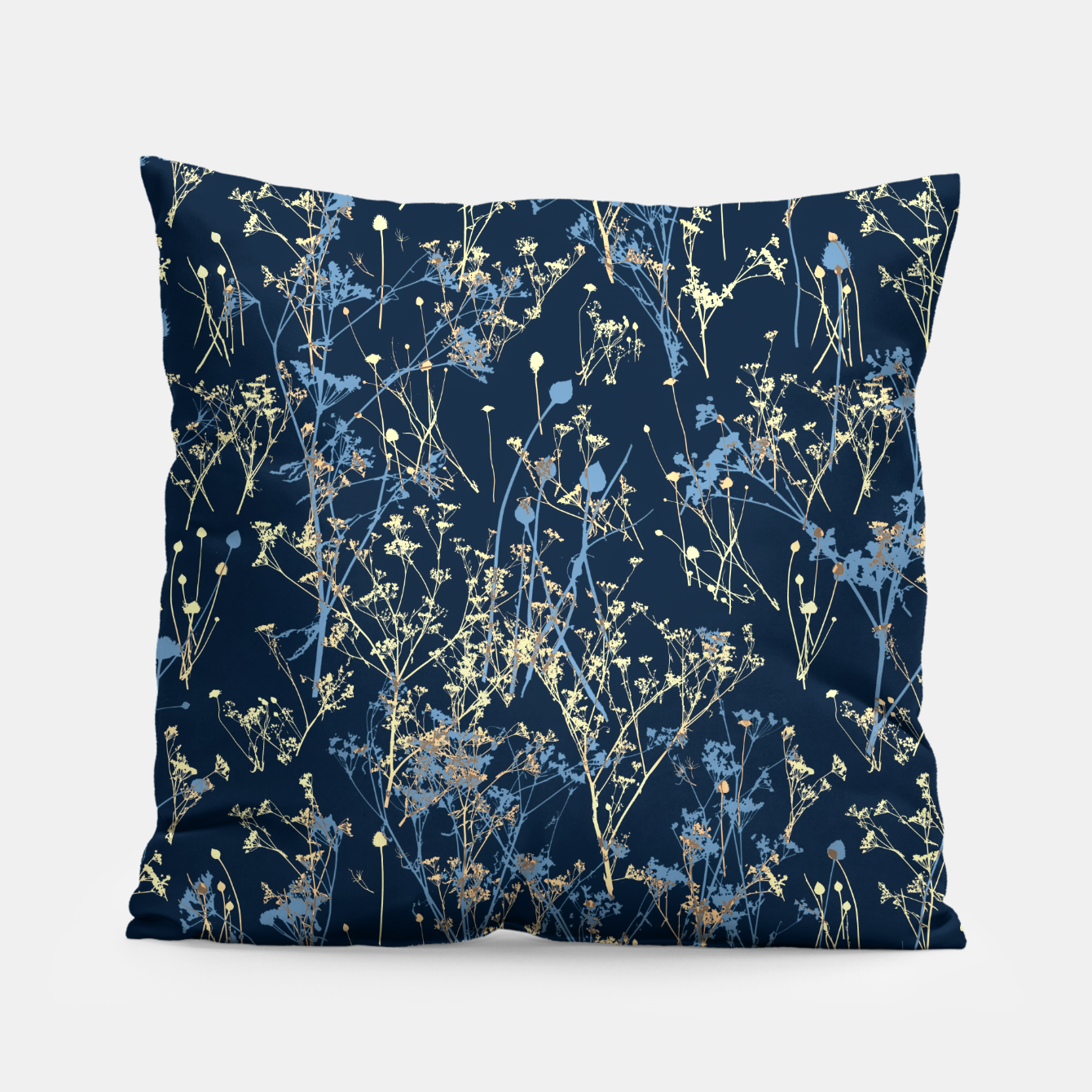 Image of Wildflowers Silhouettes on Dark Blue Floral Pattern Pillow - Live Heroes