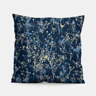 Thumbnail image of Wildflowers Silhouettes on Dark Blue Floral Pattern Pillow, Live Heroes