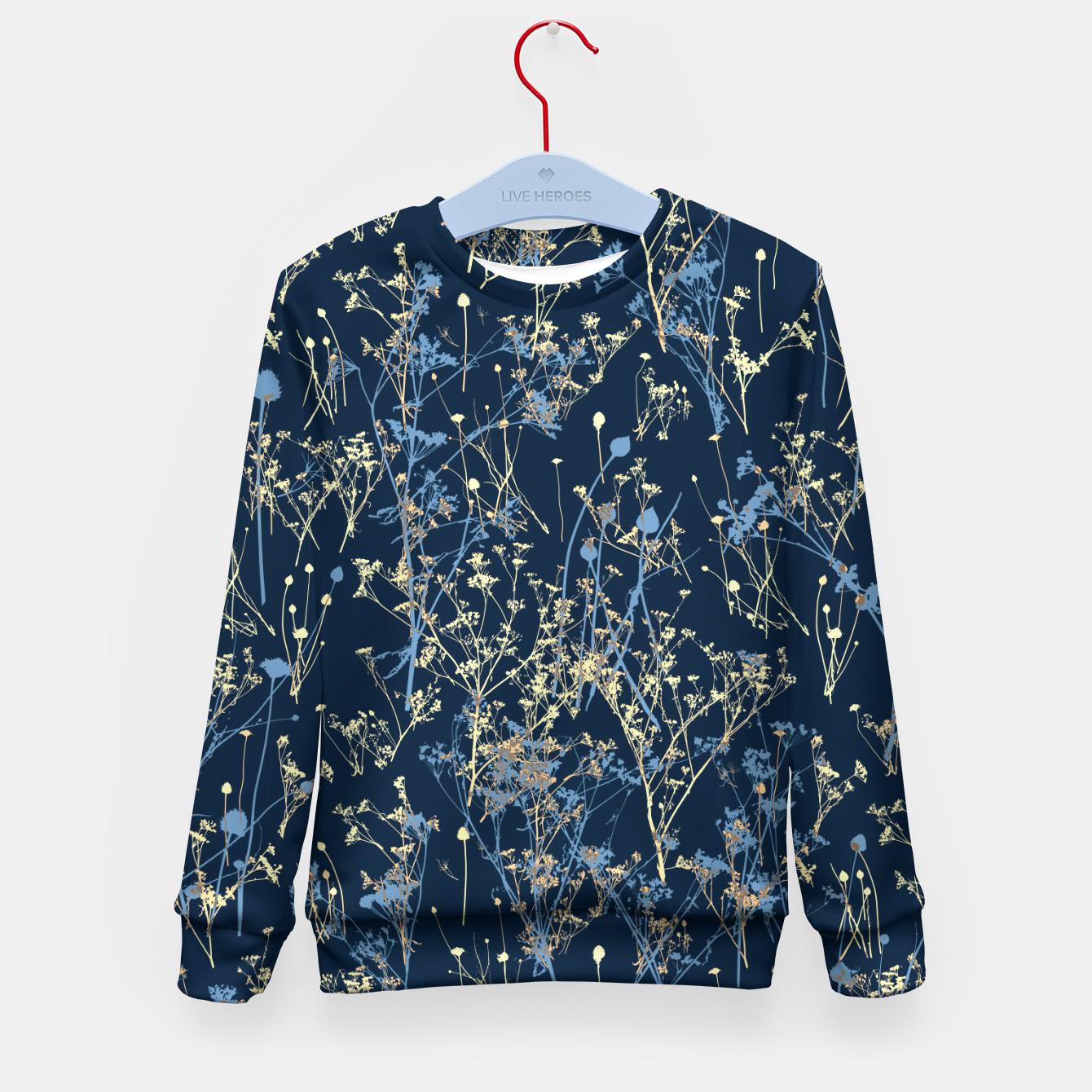 Image of Wildflowers Silhouettes on Dark Blue Floral Pattern Kid's sweater - Live Heroes