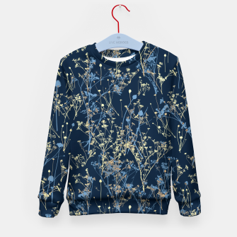Thumbnail image of Wildflowers Silhouettes on Dark Blue Floral Pattern Kid's sweater, Live Heroes
