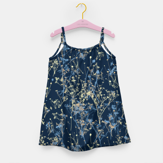 Thumbnail image of Wildflowers Silhouettes on Dark Blue Floral Pattern Girl's dress, Live Heroes