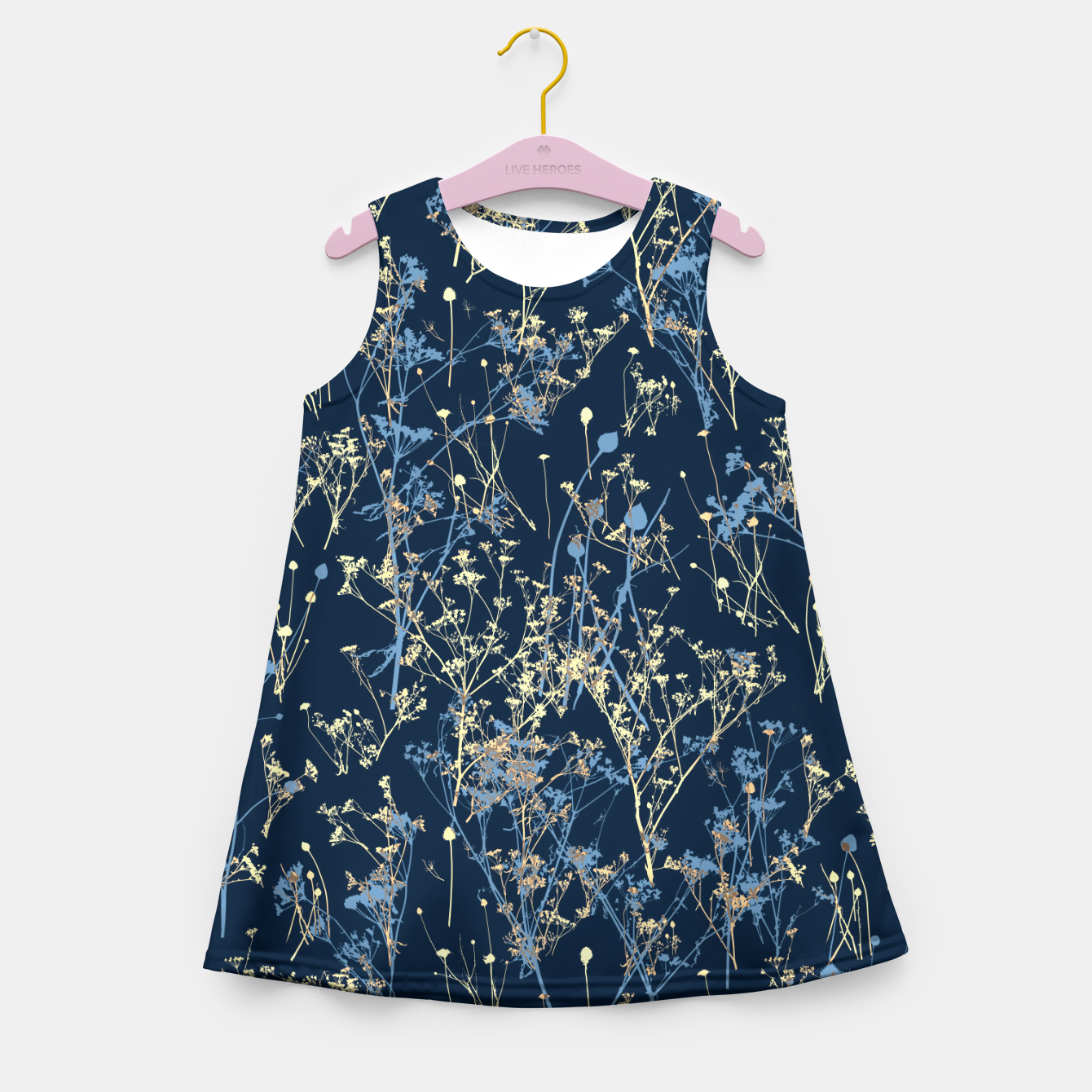 Image of Wildflowers Silhouettes on Dark Blue Floral Pattern Girl's summer dress - Live Heroes