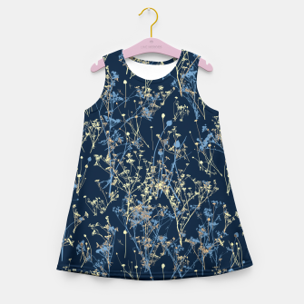 Thumbnail image of Wildflowers Silhouettes on Dark Blue Floral Pattern Girl's summer dress, Live Heroes