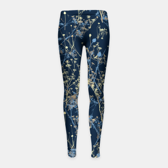 Thumbnail image of Wildflowers Silhouettes on Dark Blue Floral Pattern Girl's leggings, Live Heroes