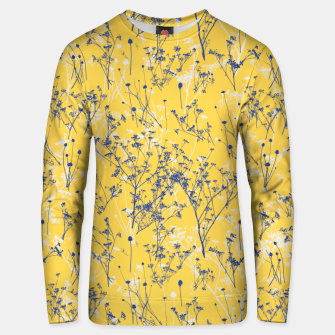 Thumbnail image of Blue Wildflowers Silhouettes on Mustard Yellow Pattern Unisex sweater, Live Heroes