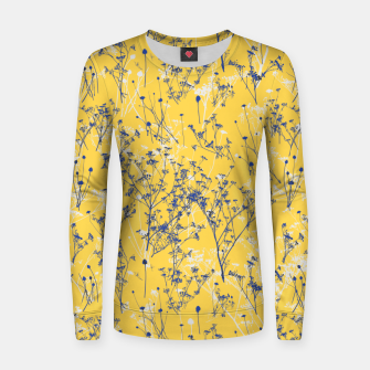 Thumbnail image of Blue Wildflowers Silhouettes on Mustard Yellow Pattern Women sweater, Live Heroes
