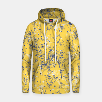 Thumbnail image of Blue Wildflowers Silhouettes on Mustard Yellow Pattern Hoodie, Live Heroes