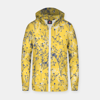 Thumbnail image of Blue Wildflowers Silhouettes on Mustard Yellow Pattern Zip up hoodie, Live Heroes