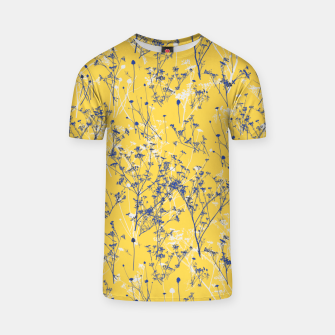 Thumbnail image of Blue Wildflowers Silhouettes on Mustard Yellow Pattern T-shirt, Live Heroes