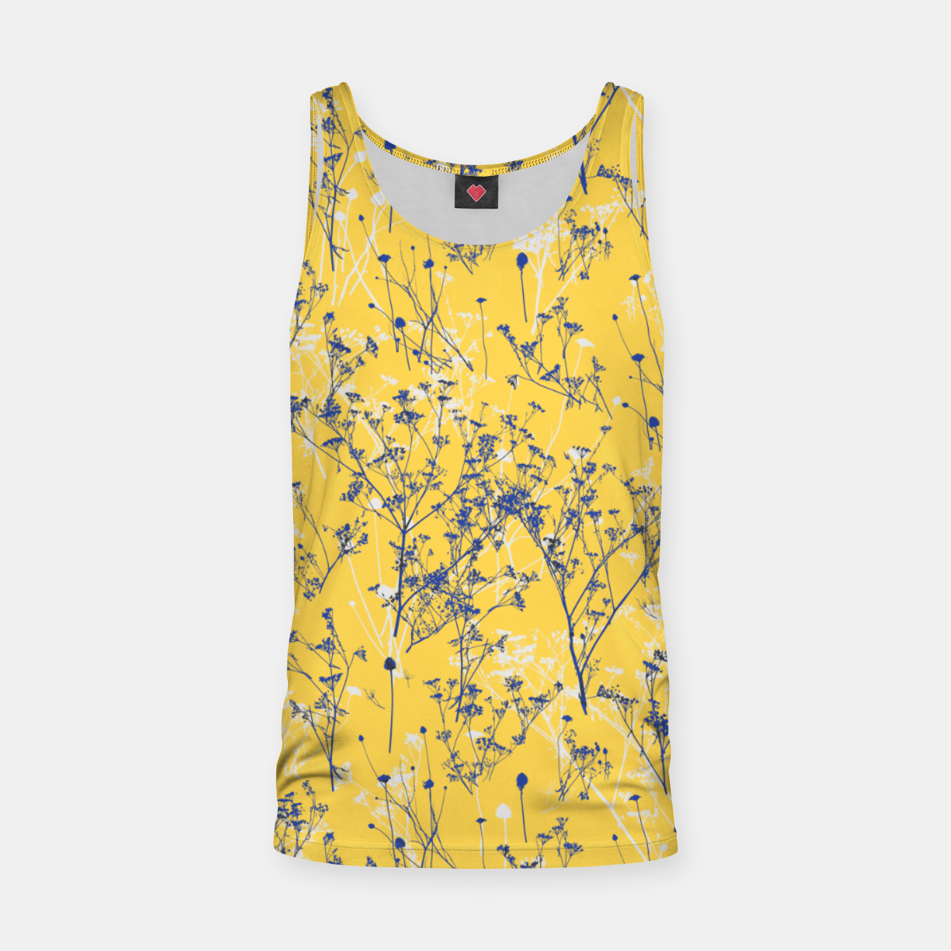 Image of Blue Wildflowers Silhouettes on Mustard Yellow Pattern Tank Top - Live Heroes