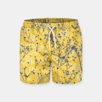 Thumbnail image of Blue Wildflowers Silhouettes on Mustard Yellow Pattern Swim Shorts, Live Heroes