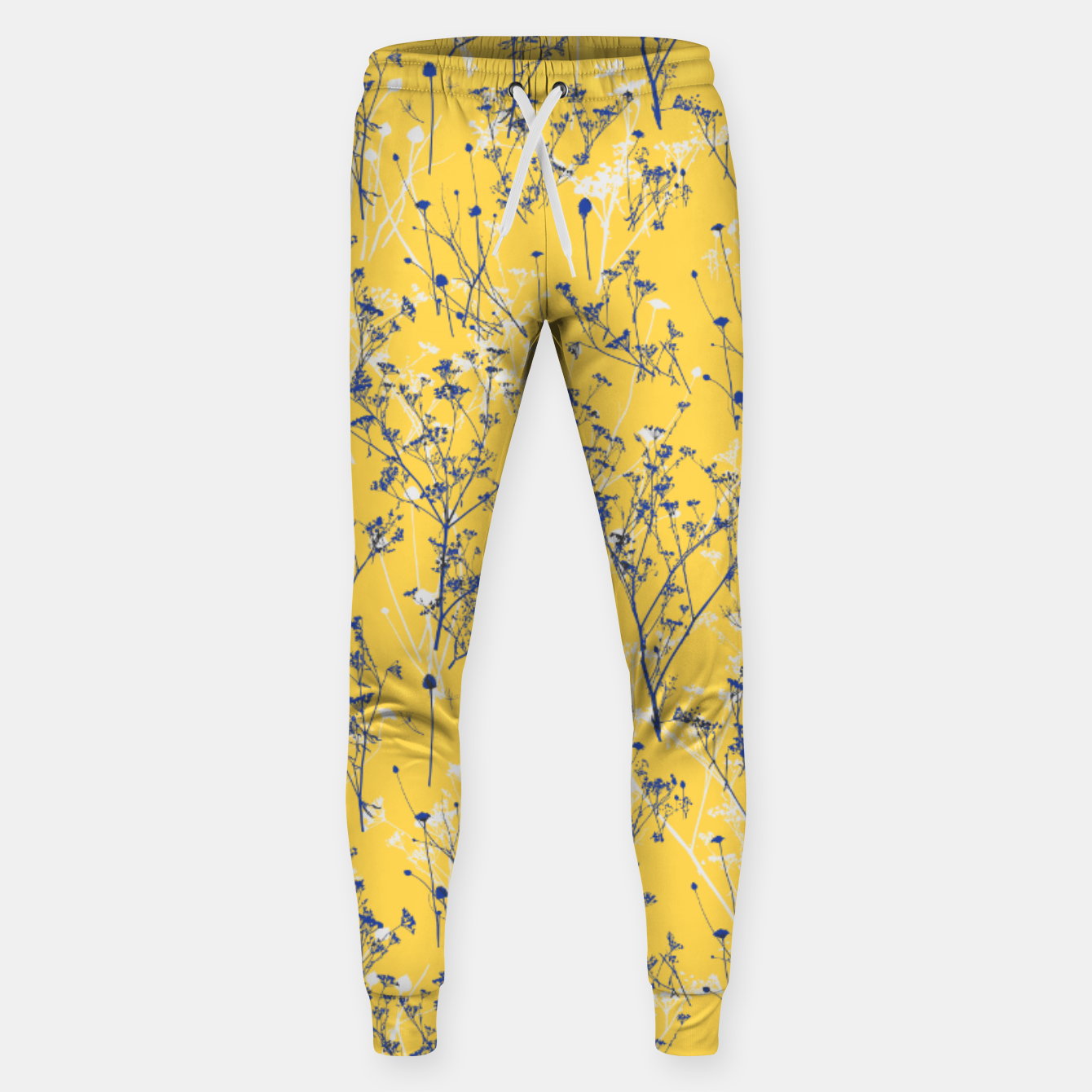 Image of Blue Wildflowers Silhouettes on Mustard Yellow Pattern Sweatpants - Live Heroes