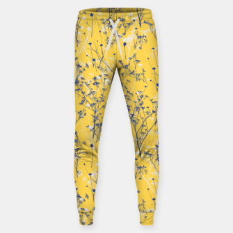 Thumbnail image of Blue Wildflowers Silhouettes on Mustard Yellow Pattern Sweatpants, Live Heroes