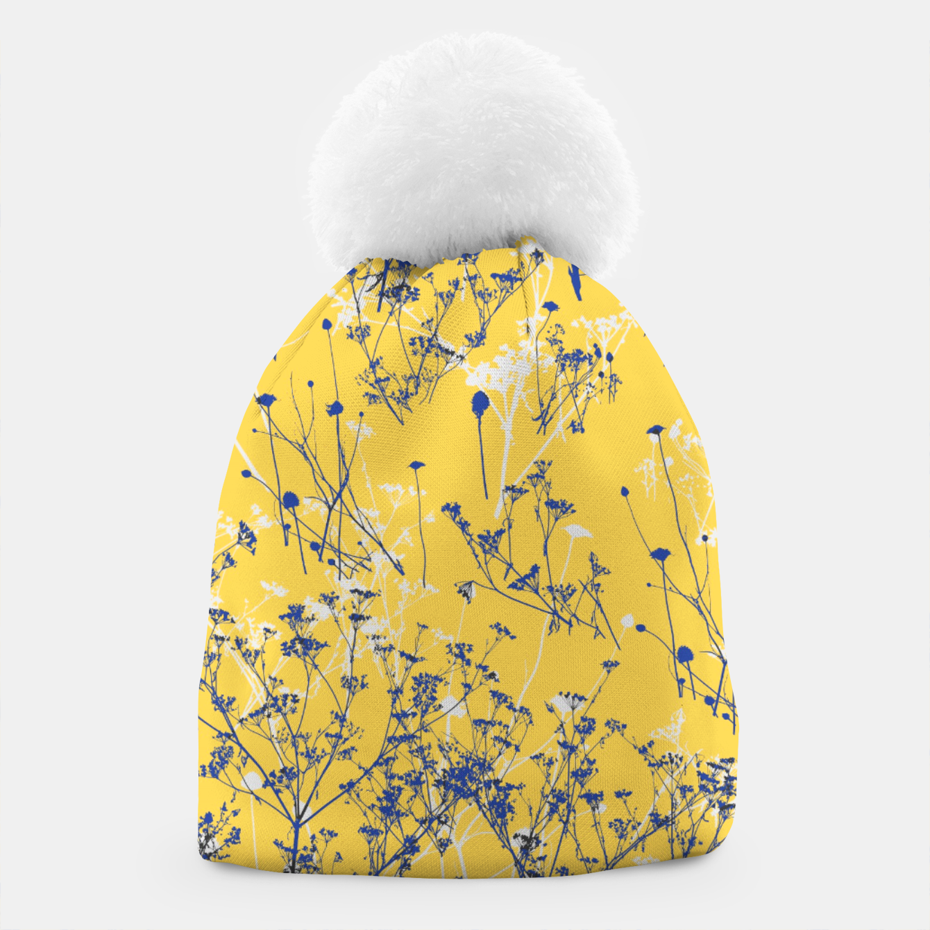 Image of Blue Wildflowers Silhouettes on Mustard Yellow Pattern Beanie - Live Heroes