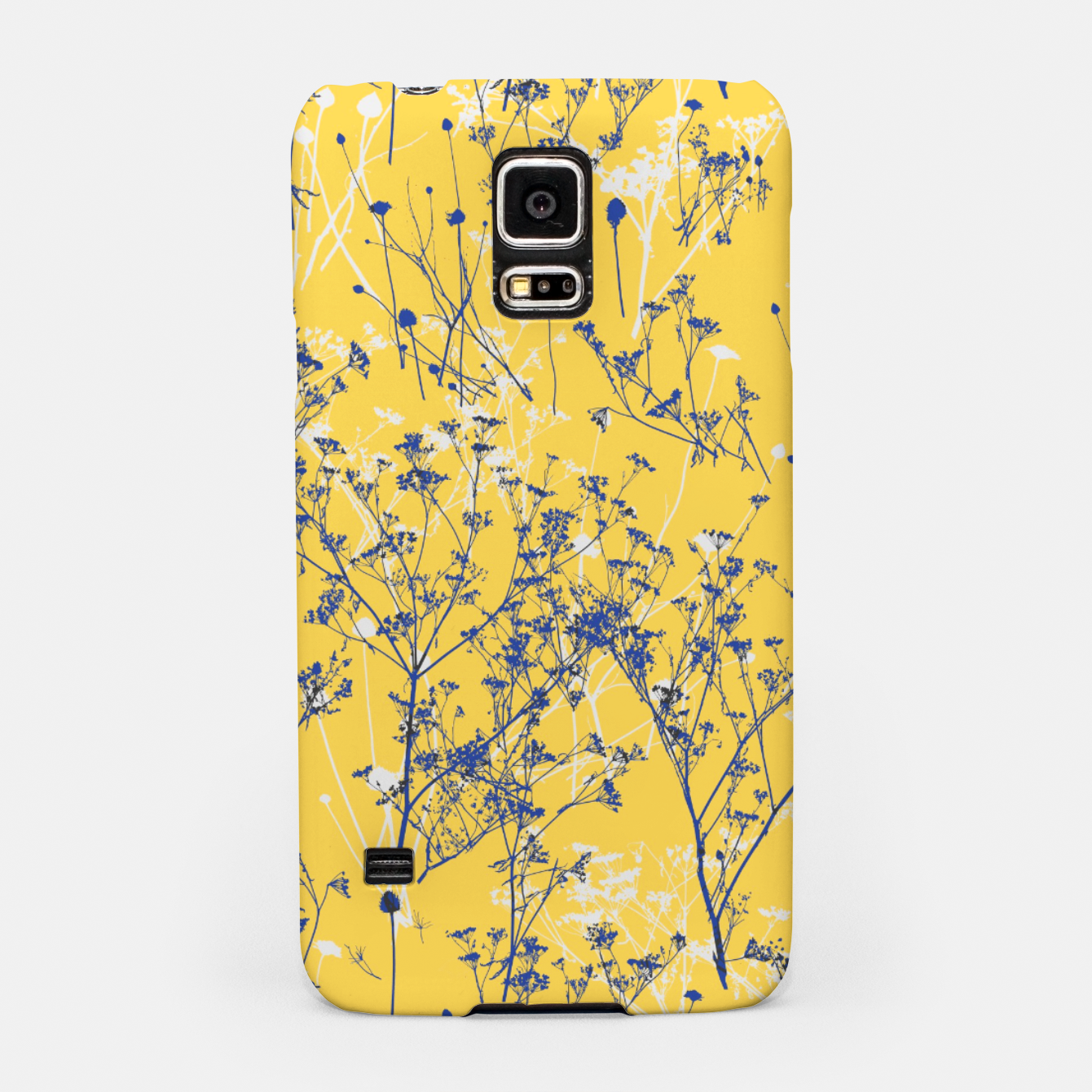 Image of Blue Wildflowers Silhouettes on Mustard Yellow Pattern Samsung Case - Live Heroes