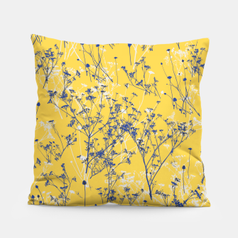 Thumbnail image of Blue Wildflowers Silhouettes on Mustard Yellow Pattern Pillow, Live Heroes